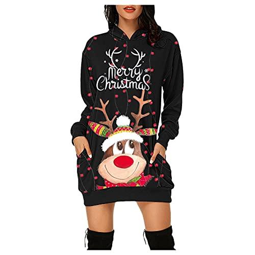 Dasongff Vestido de Navidad para mujer, de manga larga, con capucha, con estampado de Navidad, con bolsillos, estilo informal, de manga larga, Negro-3., L