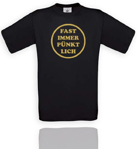 Comedy Shirts Plusieurs Coloris – Presque Toujours à l'heure. Unisexe XXL - Noir/Or