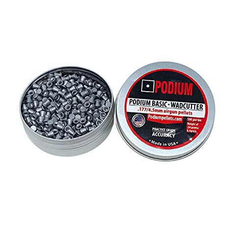 Podium   Basic Flat Wadcutter Air Gun Pellets   .177 Caliber, 8.4 Grain   Flat Wadcutter Head for Competition Target Training, Made in USA   500 Count