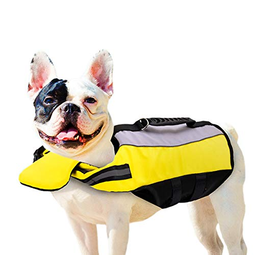 Vohoney Chaleco salvavidas para perros, chaleco salvavidas para perros, talla ajustable, talla M, color naranja