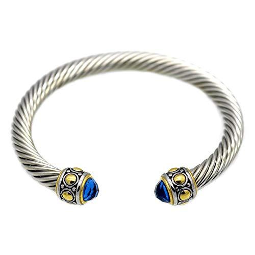 DBSUFV Alambre trenzado cuerda de cáñamo apertura pulsera mujer pulsera pulsera mujer pulsera pulsera moda joyería regalos (azul)