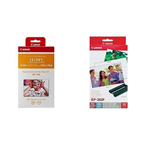 Canon Druckerkartusche RP-108 und Papier für Selphy CP Fotodrucker Serie & 7737A001 KP-36IP photo paper inkjet 100x148mm 36 Blatt with ink cassette for CP-100