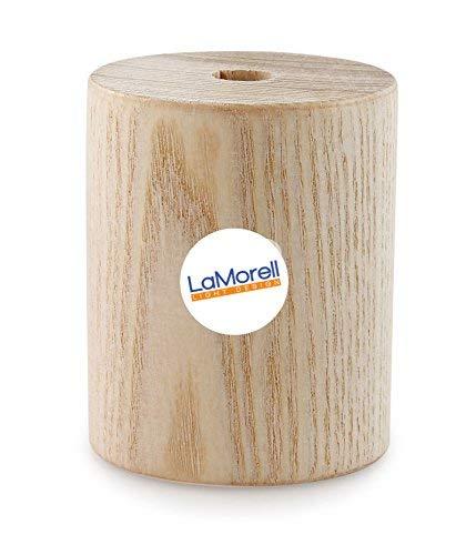 Lampenfassung Zylinder in natürlichem Holz für Textilkabel. Made in Italy
