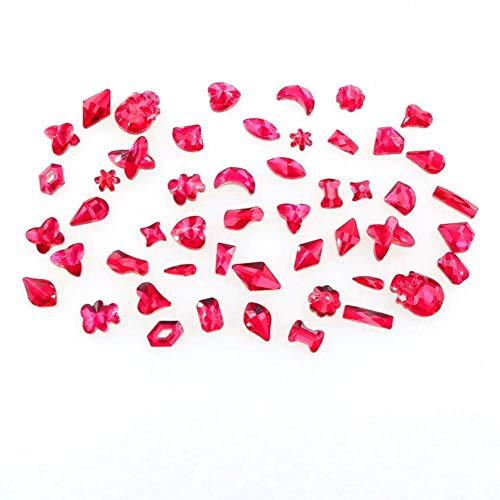 Formes mélanger 50 pcs/sac Rose couleur verre plat verre cristal strass perles applique colle sur pour nail art handimade Craft diy trim, Rose, 50 Pcs