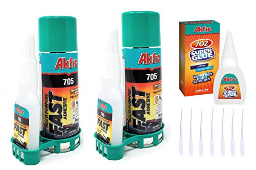 Akfix 705 Super CA Glue 2-Pack (2 X 1.76 oz) with Spray Activator (2 X 6.76 floz). Wood, Metal, Plastic, Leather, Crafts. Clear CA Glues
