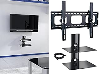 2xhome - New TV Wall Mount Bracket & Two (2) Double Shelf Package