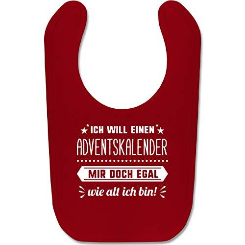 Shirtracer Weihnachten Baby - Ich will einen Adventskalender mir doch egal wie alt ich bin - Unisize - Rot - BZ12 - Baby Lätzchen Baumwolle