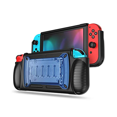 SXLTECH Protective Case Cover with 2 Hidden Game Card and 5 Card Game Card Box Stand Bracket for Nintendo Switch Console (Blue)