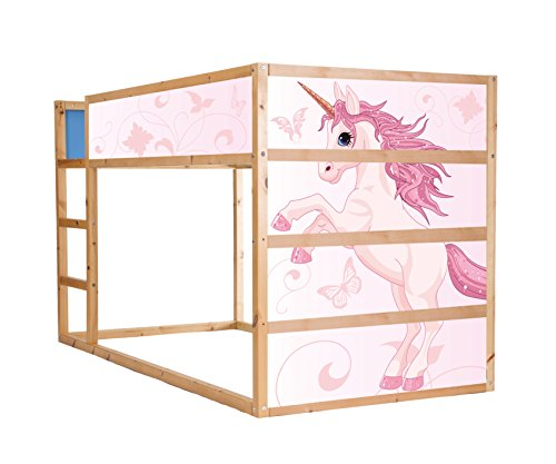 Stikkipix Einhorn Möbelfolie selbstklebend/Aufkleber - IM204 - passend für das Kinderzimmer Hochbett KURA von IKEA - Möbel Nicht Inklusive