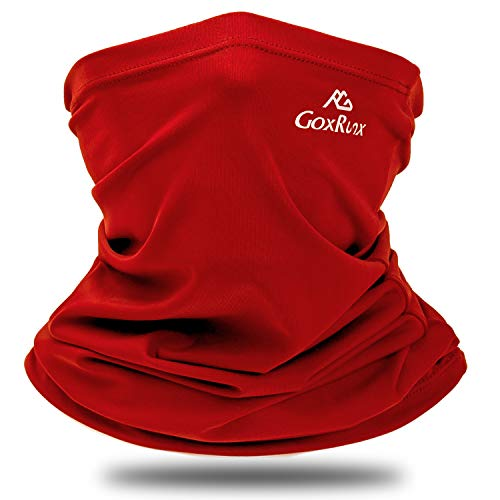 Summer Neck Gaiter Sun UV Protection Face Cover Cooling Neck Scarf Anti Dust Windproof Bandana for Hiking Cycling Fishing (Red)