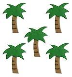 Anniversary House, Tropical Palm Tree Edible Sugar Craft Cake Topper, 4.2cm, Pack 5, Multi Colour