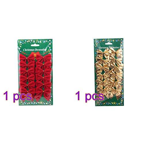 LEORX Navidad adornos Navidad cinta arcos rojo oro 24 pcs
