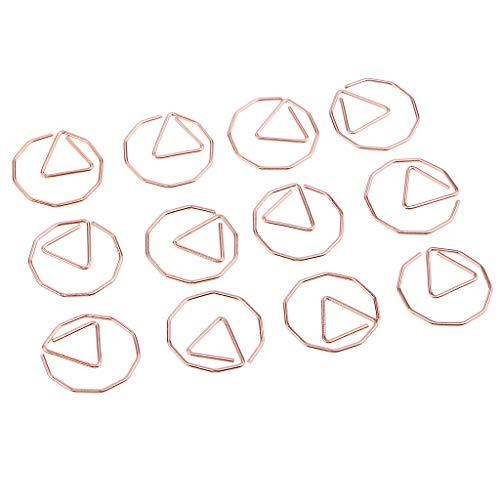 joyMerit 12 Clips de Papel de Metal, Clips Creativos para Hacer Círculos Poligonales de 19 Mm para álbumes de Recortes Marcador de Libros de Notas de Oficina Y