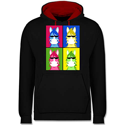 Shirtracer Statement - Horse Popart - 3XL - Schwarz/Rot - Pop Art - JH003 - Hoodie zweifarbig und Kapuzenpullover für Herren und Damen