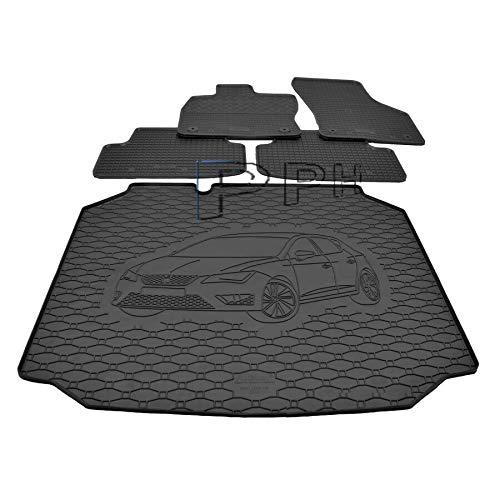 X & Z PPH – Juego de alfombrillas para maletero, alfombrilla de goma antideslizante Leon (5F) a partir de 2013