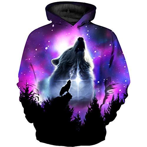 GLUDEAR Boy Girl Novelty Wolf Galaxy Hoodies Sweatshirts Pullover,Purple,9-10T