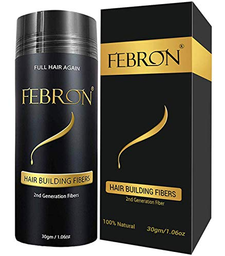 FEBRON Hair Fibers For Thinning Hair BLACK Giant 30G For Women & Men Hair Loss Concealer Hair Powder Volumizing Based 100% Undetectable & Natural - Bald Spots Filler