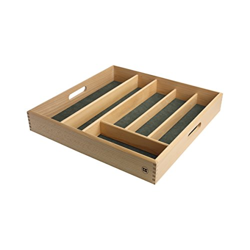T&G Woodware, Besteckkasten aus FSC-zertifiziertem Buchenholz, mit grünem Innenfutter, Größe: 38,2x 38,2x 6cm