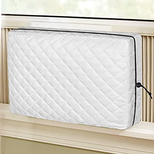 Air Jade Indoor Air Conditioner Cover, QuIited Double Insulation Inside Covers for Window AC Unit White Large, 28 x 20 x 3.5 inches (L x H x D)