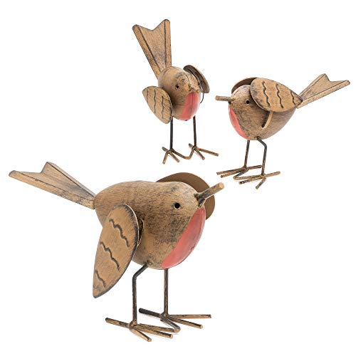 GloBrite 3pc Robin Redbreast Metal Bird Set Highly Detailed Rustic Garden Ornaments Fun Christmas Decoration Indoor Or Outdoor Use