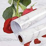 ABWL Papier Adhesif pour Meuble de Marbre, 40cmX400m Marbre Decoration Gris Blanc Papier Peint Cuisine Autocollants, Etanche...