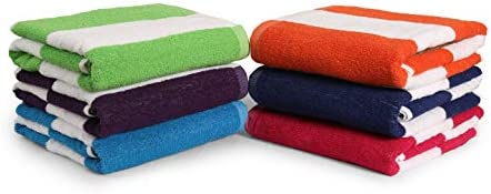 100 Cotton Bath Towel Pack of 6 Cabana Stripe Beach Towel Large Pool Towels 28 x 58 Highly Absorbent product image
