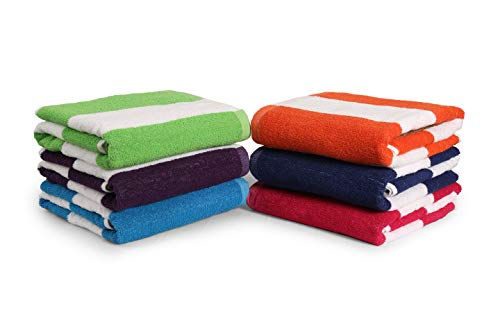 """100% Cotton Bath Towel, Pack of 6, Cabana Stripe Beach Towel, Large Pool Towels (28' x 58""""), Highly Absorbent, Light Weight, Soft and Quick Dry Swim..."""