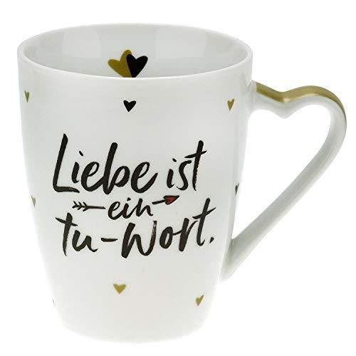 Sheepworld Gruss und Co 46185 Herzhenkel Liebe ist ein Tu-Wort, Porzellan, 30 cl, Spruch Tasse