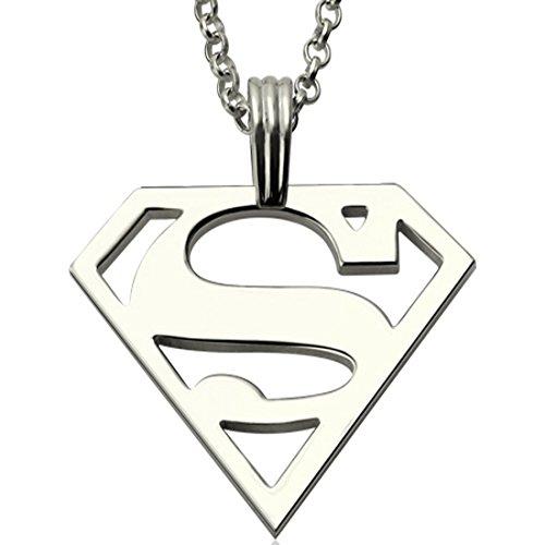 Collar con el logo de Superman para hombres, personalizable, joyería bañada en plata