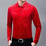 BUXIANGGAN Camisa T-Shirt Camisas De Vestir Florales Rojas para Hombre Elegante Nuevo Slim Fit De Manga Larga Chemise Homme Casual Social Wedding Party Chemise-Red_Asian_Size_XL