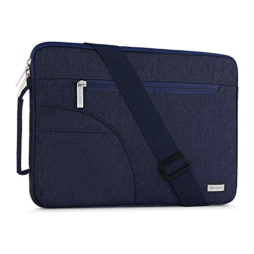 MOSISO Laptop Shoulder Bag Compatible with MacBook Pro 16 inch A2141, Compatible with MacBook Pro Retina A1398, 15-15.6 inch Notebook, Polyester Briefcase Sleeve with Side Handle, Navy Blue