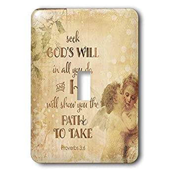 3dRose lsp_325629_1 Light Switch Cover Religious Typography Art With Angels And Bible Psalm Seek God