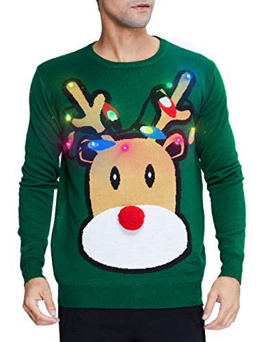 uideazone Light Up Ugly Christmas Sweater for Men Funny Deer Led Knit Ugly Xmas Pullover Jumper for Celebration Pub Cabin Party