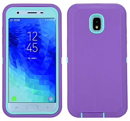 Case for Galaxy J3 2018 with Built-in Screen Protector, Heavy Duty Shockproof Defender Armor Protective Cover for Samsung J3 2018/ Galaxy Amp Prime 3/ J3 Achieve/ J3 Star/ J3V 2018 (Purple/Mint)