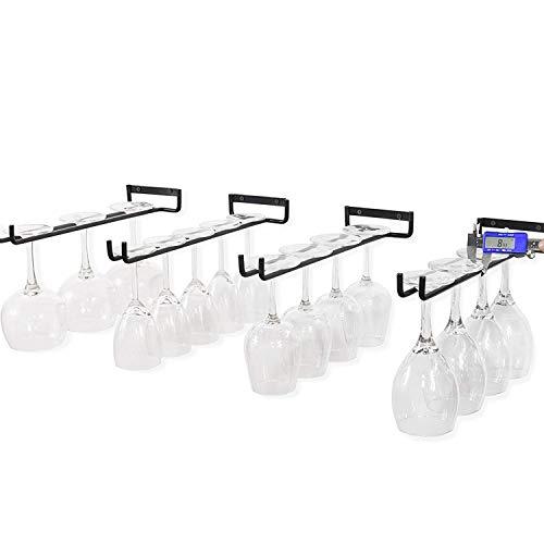 Set of 4 Stemware Wine Glass Hanging Rack, Wall Mount Wine Glass Holder Hanger Storage, Metal...