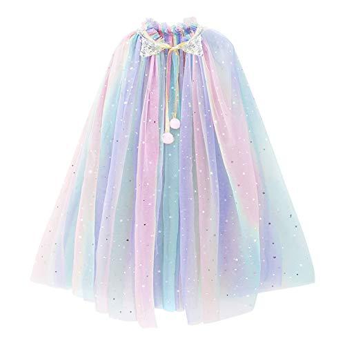 PHOGARY Vistoso Capa Princesa Niña Disfraz Princesa Vestido, Disfraces Halloween Navidad Carnaval Cosplay Cumpleaños Fiesta Princesa Disfraces Capa para Niños