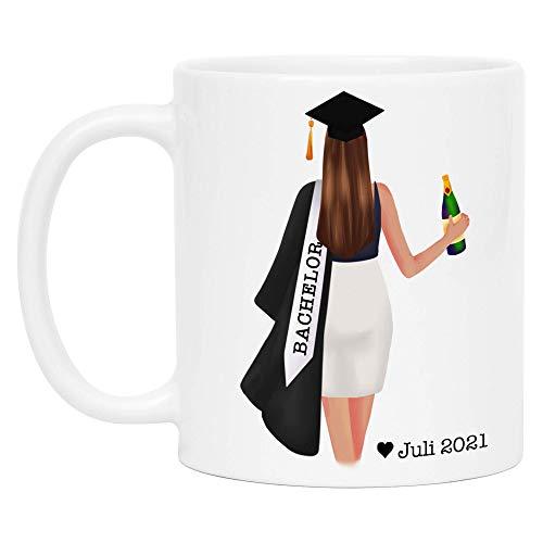 Bachelor Master Tasse 2021 Abschluss Geschenk mit Name Absolvent Doktor Personalisierte Kaffeetasse… (Frau)