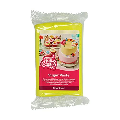 FunCakes Pasta di Zucchero Lime Green: facile da usare, liscia, flessibile, morbida e pieghevole, perfetta per decorare torte, halal, kosher e senza glutine. 250 gr