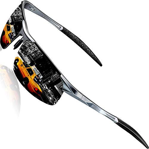 SIPLION Herren Sport Polarisierte Treiber Glasses Sonnenbrillen Al-Mg Metallrahme Ultra leicht 8177 Gray