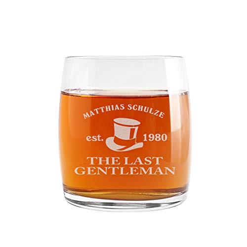 Herz & Heim® Whiskeyglas (Bohemia) mit kostenloser Gravur – Last Gentleman – tolle Geschenkidee für Ihren Lieblingsmenschen