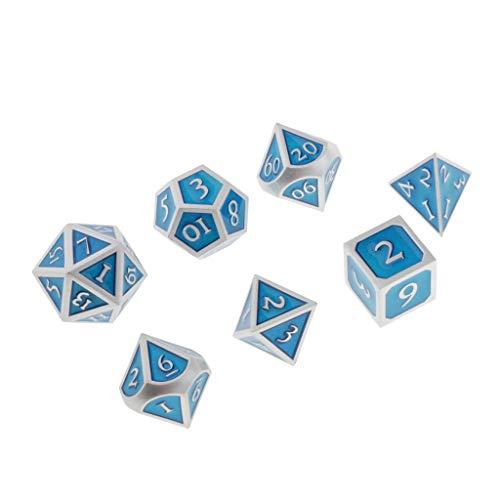 Baoblaze 7 Unids Juego de Mesa Dados Poliédrico de Metal para Dungeons Dragons Dice MTG DND RPG - Azul