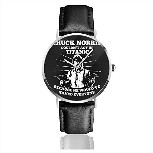 Unisex Business Casual Chuck Norris Couldnt Act in Titanic Uhren Quarz Leder Uhr mit schwarzem Lederband für Männer Frauen Junge Kollektion Geschenk