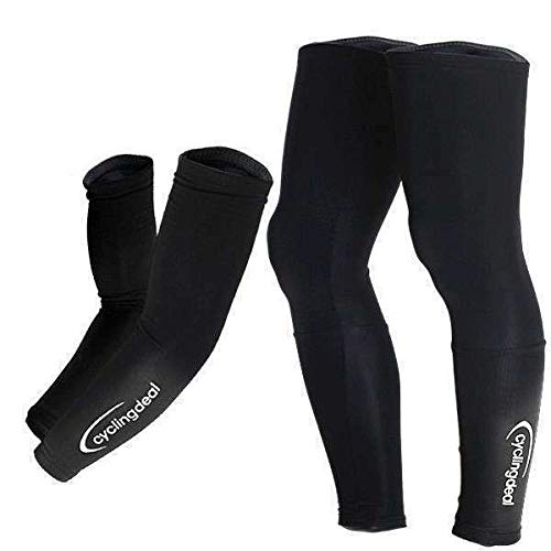 Cycling Bicycle Bike Running Golf Compression Sleeve Arms Thermal Warmers & Legs Warmers Pair -Sleeves Cover - Great for Men's and Women's Anti-Slip Design for Outdoor Sports Large