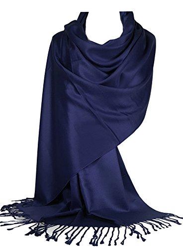 World of Shawls Super Soft Pashmina Shawl Scarf Wrap (Dark Navy Blue)