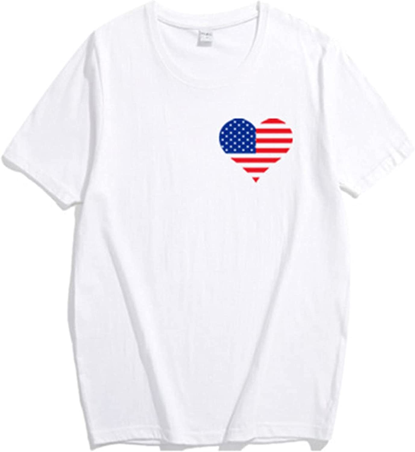 Family Matching Outfits,American Flag Peach Heart Print Parent Child Top Family Short Sleeve T-Shirt White Family Outfits,