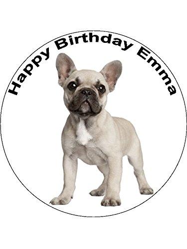 Essbare Tortenglasur mit Französische-Bulldogge-Motiv für Geburtstagskuchen, 19 cm