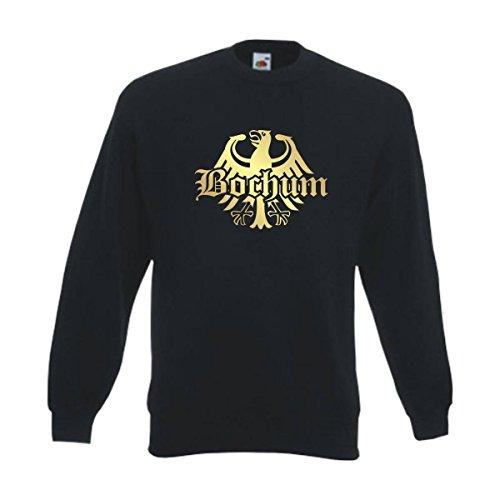Fun T-Shirt Sweatshirt Bochum Meine Heimat Meine Liebe, edel bedruckter schwarzer Herren Städte Pullover mit Rundhals auch Übergrößen (SFU08-16c) XL