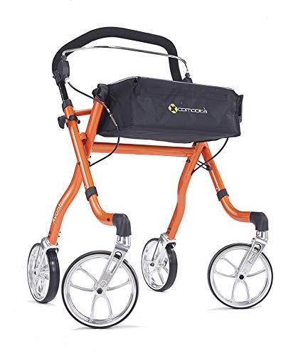Comodità Avanti Unique One or Two-Hand Operation Ideal for Stroke Patients Lightweight Rolling Walker Rollator (Metallic Orange)