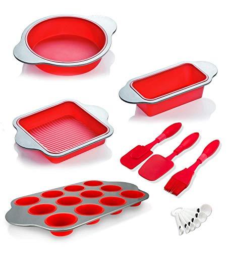 Boxiki Kitchen Silikon Backform, Formen und Utensilien (Set mit 13), Silikon Kuchenform, Brownie-Form, Kastenform, Muffin-Form, 2 Teigspatel, Pinsel und 6 Messlöffel