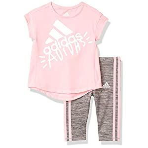 adidas Girls' Short Sleeve Sporty Top & Capri Legging Clothing Set